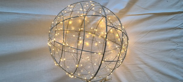 Kugel silber twinkling weiss 240led IP44 - d40cm