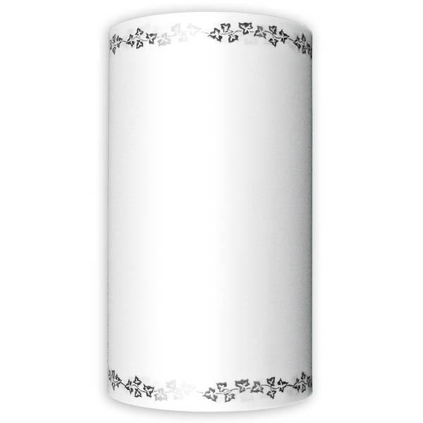 Supersatin 125mm weiß mit schwarzem Efeurand